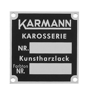 KARMANN CHASSIS PLATE 911/912