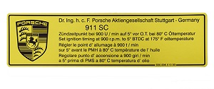 TIMING DECAL 911SC 1978-80