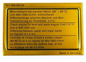 ENGINE OIL LEVEL DECAL 1973