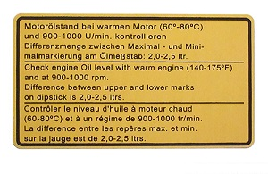 ENGINE OIL LEVEL DECAL 1974-77