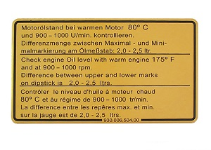ENGINE OIL LEVEL DECAL 911SC