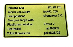 CAPACITIES/TIRES DECAL 1965-68