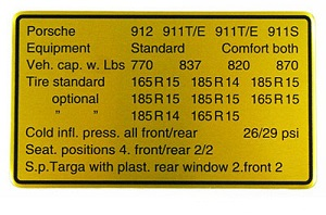 CAPACITIES/TIRES DECAL 1969
