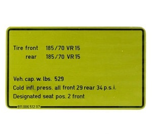 CAPACITIES / TIRES DECAL 911SC
