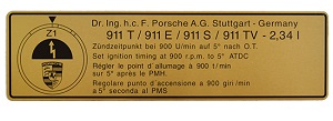 TIMING DECAL ALL 911 1972/3 EURO