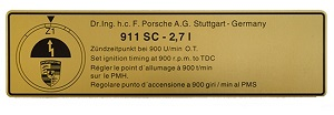 TIMING DECAL 911 2.7 CARRERA