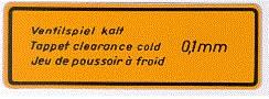 VALVE CLEARANCE DECAL 1300 /1500