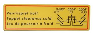 356 / 912 VALVE CLEARANCE DECAL - Image 2