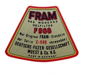356 Fram top cover decal - Image 2