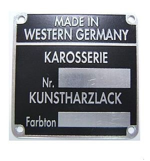 CHASSIS / PAINT PLATE 1965-70